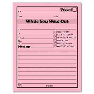 TOPS Important Message One-Sided Note Pads, 4.25 x 5.5 Inches, Pink, 50 Sheets per Pad, 12 Pads per Pack (3002-P)