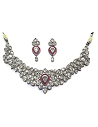 Shingar Jewellery Ksvk Jewels Fine Quality Silver Plated American Diamonds Necklace Set For Women (6529-dcs-ruby)