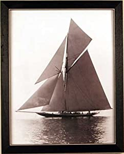 Sailboat Sea Nautical Sepia Framed Print Picture