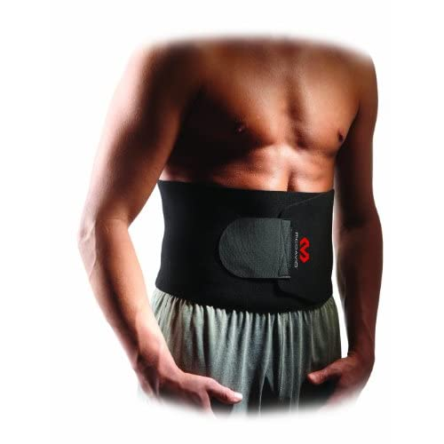 "Neoprene waist trimmer with fully adjustable velcro closure compresses and supports while retaining therapeutic heat, fits up to 40"" waistWhether you're looking to relieve some minor pain or enhance your weight loss efforts, the McDavid waist trimmer..."