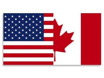 Half USA - Half Canada Flag (American Canadian) Sticker (Canada Fun compare prices)