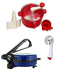 JOHN RICHARD COMBO OF BLUE ROTI MAKER, RED DOUGH MAKER AND PIZZA CUTTER
