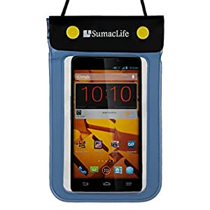 SumacLife Blue Waterproof Dry Pouch Bag Case for Samsung Galaxy Note 3 / Neo / Duos / Mega 5.8 / Round Smart Phones + 3.5mm Auxiliary Cable + Windshield Mount
