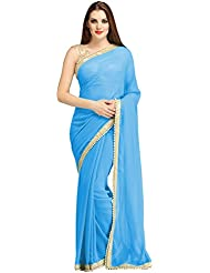 Dazzel Women's Georgette Saree (DF_Mr-Sky Blue_Blue)