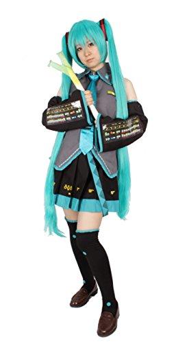 MilicaBooks vocaloid 初音ミク Mサイズ 11点フルセット ウィッグ ヘアネット ネギ付 コスプレ 衣装