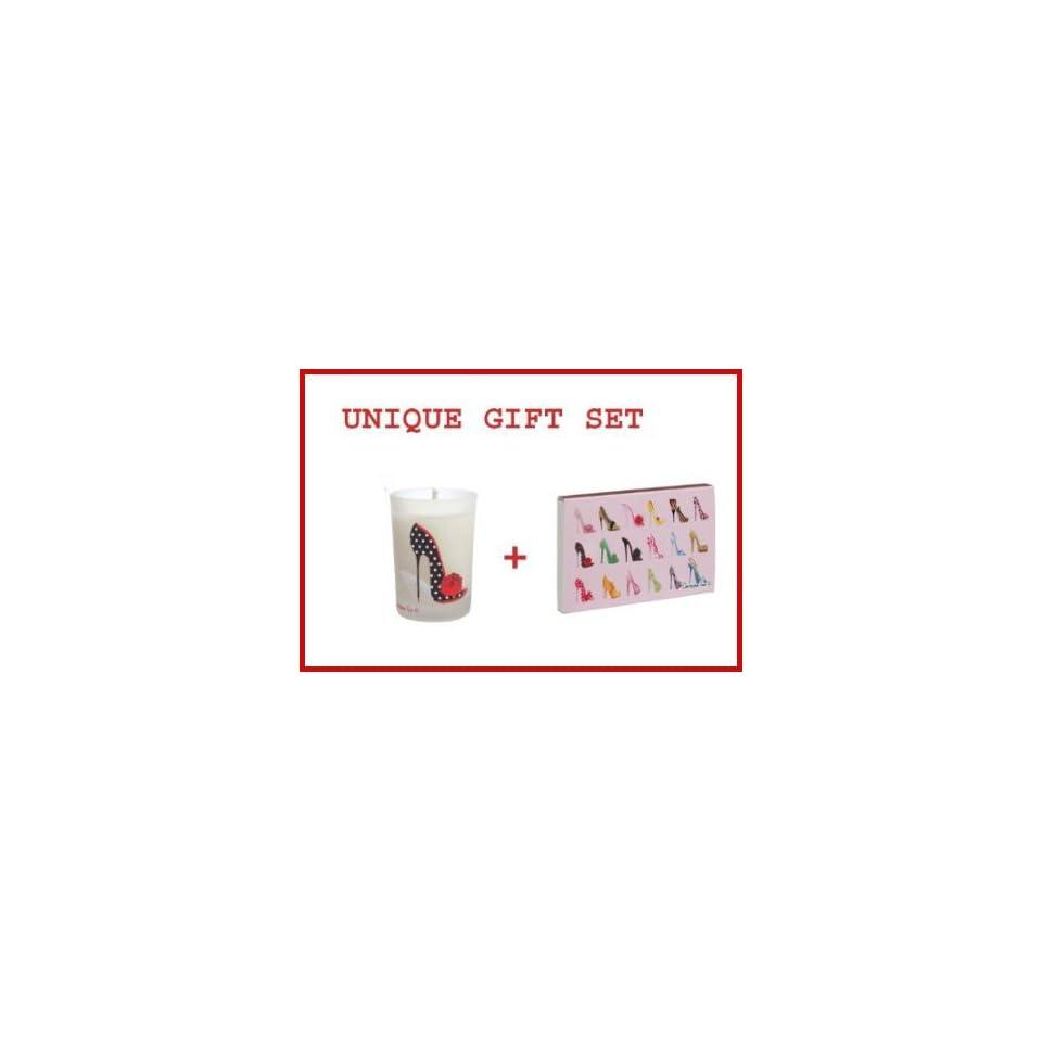 BLACK POLKA DOT SHOE Mini Votive Candle & Matchbox IMELDA Gift Set