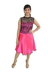 Vinked Women's A-Line Dress(V010_Pink_Large)