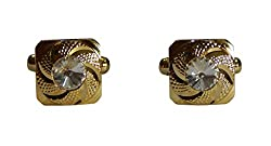 Navaksha Designer Cufflinks with a Big White Stone
