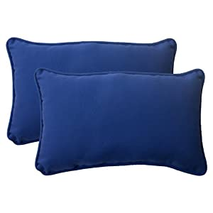 Pillow Perfect Indoor/Outdoor Fresco Corded Rectangular Throw Pillow, Navy, Set of 2 from Pillow Perfect