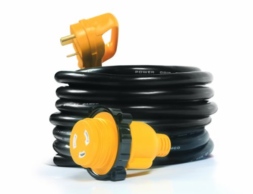 Camco 55501 PowerGrip 25' Cord with 30 AMP Male Standard/30 AMP Female Locking Adapter