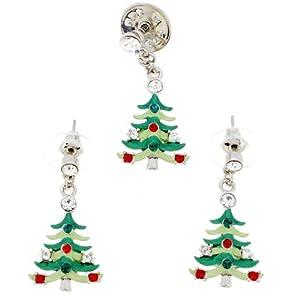 Christmas Tree Swarovski Crystal Earrings and Brooch Pin Gift Set