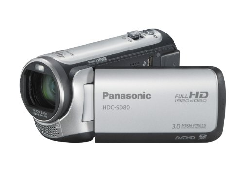 Panasonic SD80 Full HD Camcorder - Silver (SD Card Recording, x42 Intelligent Zoom, x37 Optical Zoom, Wide Angle Lens  &  iA + Face Recognition  &  New Hybrid OIS)