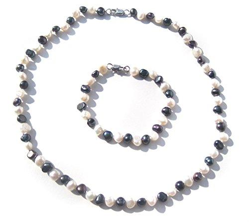 beau-collier-perle-deau-douce-en-noir-et-blanc-et-bracelet-bijoux-ensemble