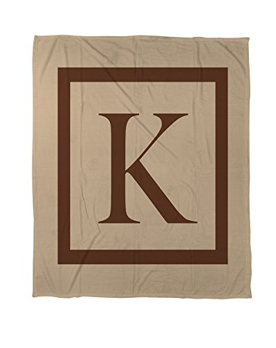 Thumbprintz Coral Fleece Throw, 30 By 40-Inch, Monogrammed Letter K, Caramel Classic Block front-446449