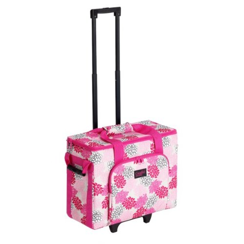 Creative Notions Sewing Machine Trolley In Pink Gray Print front-632653