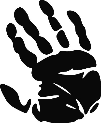 "Jp Vinyl Design - Palm Print Zombie Human Hand -Vinyl Decal - 8"" - Black"