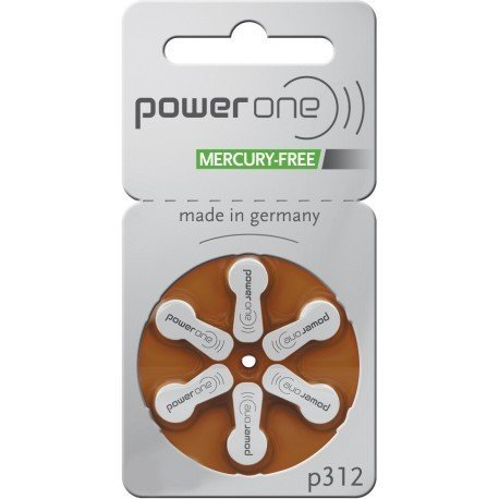 PowerOne Hearing Aid Batteries Size 312, PR41 (120 Batteries) + 2 Cell Battery Keychain Kit (Power One 312 Batteries compare prices)