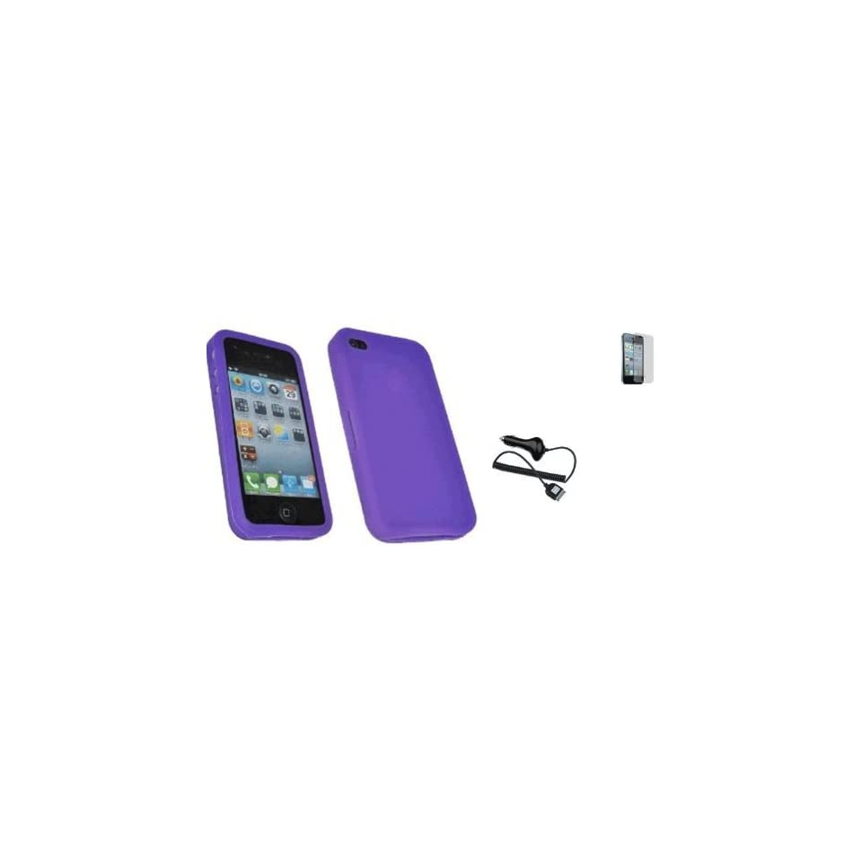 Mobile Palace   Purple silicone skin case cover pouch holster with screen protector with car charger for Iphone 4