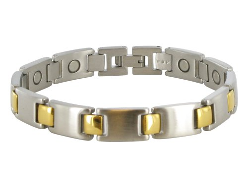 13 MM Stainless Steel Two Tone Magnetic Bracelet 8.5″