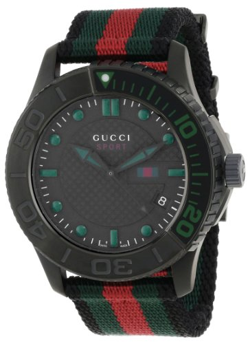 Gucci Men's YA126229 G-Timeless Dive Black Dial Nylon Strap Watch