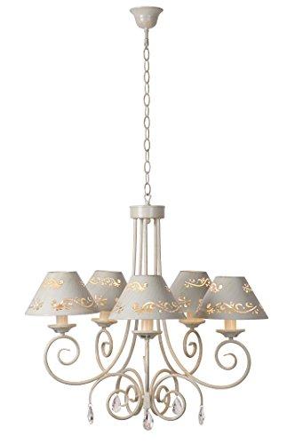 Lucide Dorint 71399/05/21 - Lampadario a sospensione a 5 luci E14, diametro 70 cm, altezza 120 cm, colore: Bianco anticato