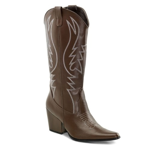 3 Inch Heel Womens Brown Cowboy Boots Cowgirl Boots Size 11 Clearance