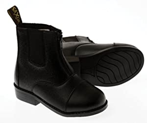 Saxon Equileather Childrens Zip Up Paddock Boot - Size 3 Black