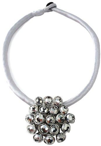 Grey Silver Satin Crystal Necklace  Silver Crystals.