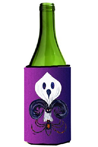 Fleur de lis Ghost Bat Spider Halloween Wine Bottle Koozie Hugger