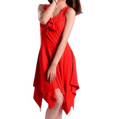 Women V-Neck Bow Sleeveless Irregular Hem Tango Latin Dance Dress