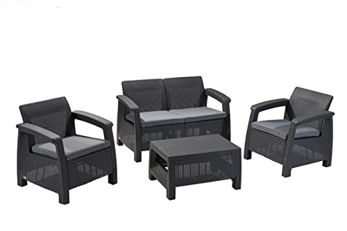 Lounge Set rattan 4P. Antracite Lounge