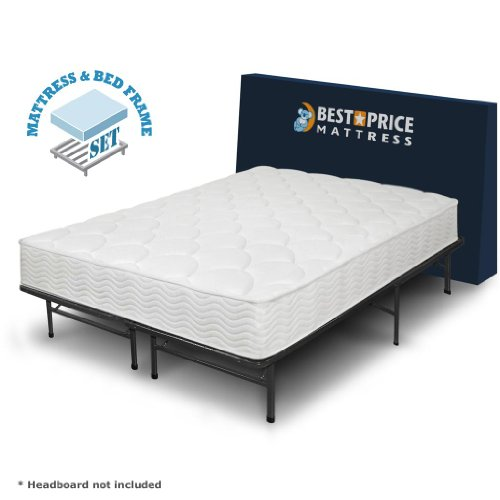 Perfect Best Price Mattress Inch Tight Top iCoil Spring Mattress and Metal Platform Bed Frame Set Full