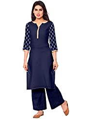 AHALYAA Blue Colored 3/4th Sleeve And Keyhole Neck Faux Crepe Kurti