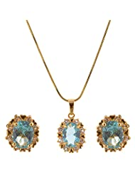 Aqua Blue And White Cz 1 Gram Gold Plated Pendant Earing Set Without Chain