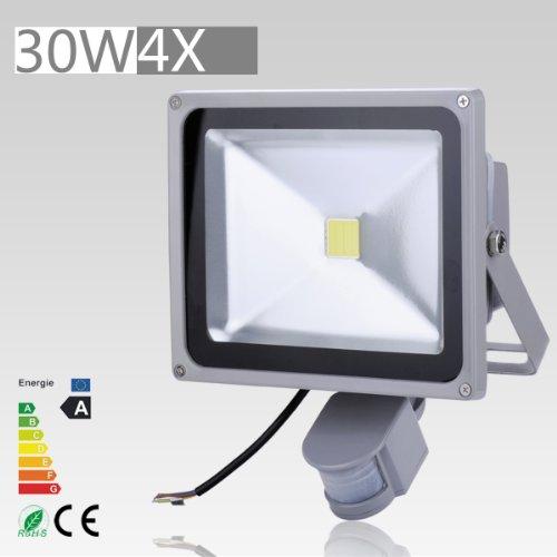 4 Pcs 30W Led Induction Pir Infrared Motion Body Sensor Flood White Lights Lamp 240V Ac Cool White