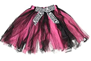 Hot Pink Black Ribbon Bow Zebra Print Tutu Skirt - dress up animal print fairy girls toddler youth princess party ballet costume dress-up apparel tutus