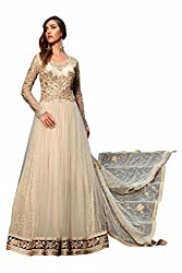 SK Creation Fabulous Beige Heavy Neck Embroidered Party Wear Gown