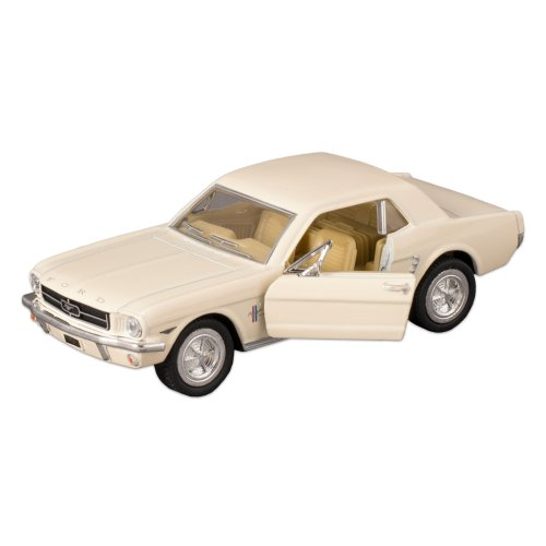 White 1964 Ford Mustang Die Cast Toy Car with Pull Back Action