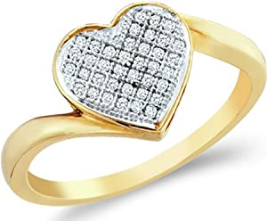 Size - 6.5 - 10k Yellow and White Two 2 Tone Gold Love Heart Shape Center Micro Pave Setting Round Cut Ladies Diamond Fashion Ring Band 8mm (.05 cttw)