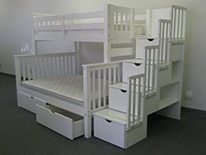 Bedz King Stairway Bunk Bed with 4 Drawers in The Steps and 2 Under Bed Drawers, Twin over Full, White