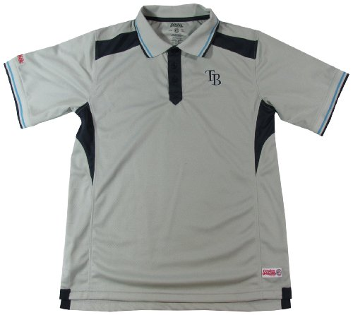 MLB Tampa Bay Rays Adult Fine Gauge Mesh Polo, Light Grey, XX-Large