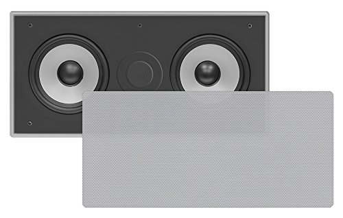 "Pyle Pdiwcs56Sl In-Wall / In-Ceiling Dual 5.25"" Center Channel Sound System, 2-Way, Flush Mount, Silver, Single Unit"