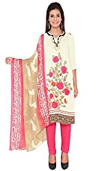 Nazaquat White Printed Crepe Unstitched Dress Material