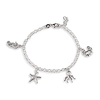 Seahorse Starfish Octopus Crab Sterling Silver Anklet: Jewelry