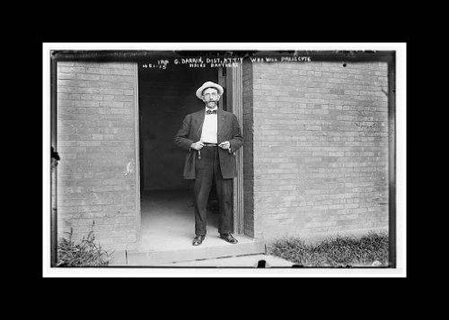 Reprint Ira G. Darrin, District Attorney,in doorway, to prosecute Haines brothers 1908