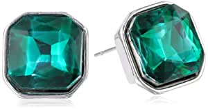 """Kenneth Cole New York """"Geometric Pave"""" Green Square Bead Stud Earrings"""