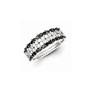 Sterling Silver Black & White Diamond Ring, Size 6, (1.15 ctw, I1-I2 Clarity), Jewelry Rings for Women