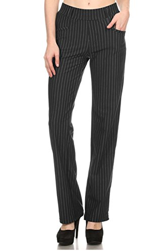 Straight Fit Stretchy Pinstripe Trousers (X-Large, Black) (Women Pinstripe Pants compare prices)