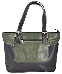 Aamin Womens Tote (Black and Green)