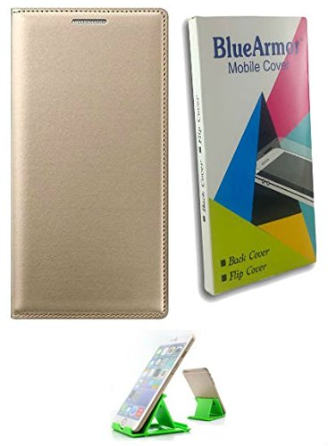 BlueArmor Leather Flip Cover Case for Reliance Jio Lyf Wind 4 - Gold & Mobile Stand
